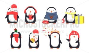 Set of cute Christmas penguins. Vector illustration - Vector illustrations for everyone | Microstocker.Pro