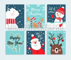 Set of cute Christmas snowmans isolated on blue background. Vector illustration - Vector illustrations for everyone | Microstocker.Pro