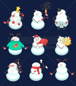 Set of cute Christmas snowmans. Funny winter characters. Vector illustration - Vector illustrations for everyone | Microstocker.Pro