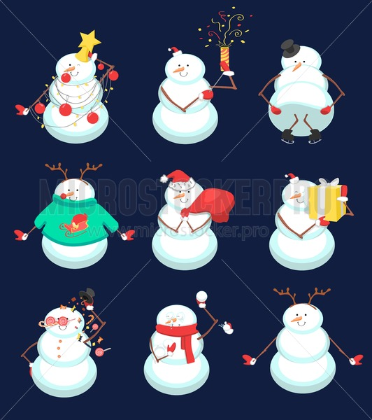 Set of cute Christmas snowmans. Funny winter characters. Vector illustration - Vector illustrations for everyone   Microstocker.Pro
