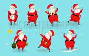 Set of cute Santa characters isolated on blue background. Christmas cartoon Santa design for stickers, greeting cards, invitations etc. - Vector illustrations for everyone | Microstocker.Pro