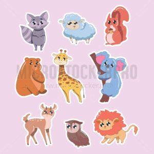 Set of cute animals isolated on pink background. Wildlife animals vector illustration - Vector illustrations for everyone | Microstocker.Pro