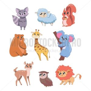 Set of cute animals isolated on white background. Wildlife animals vector illustration - Vector illustrations for everyone | Microstocker.Pro