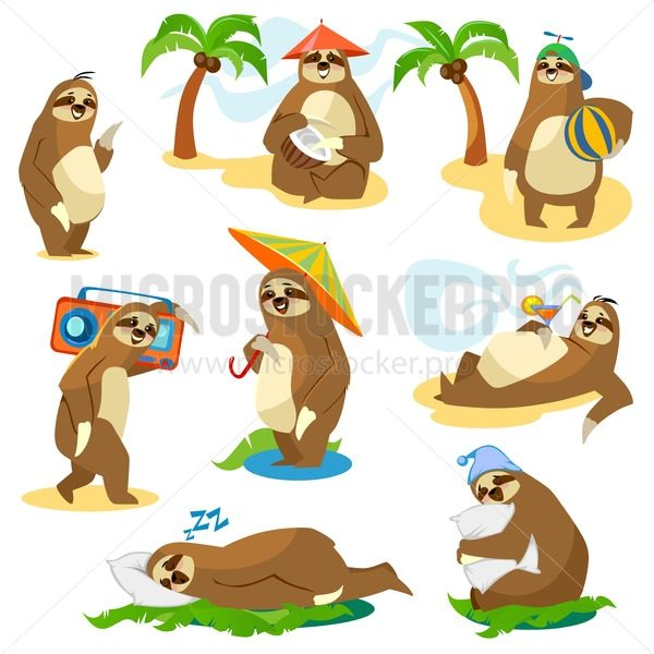 Set of cute cartoon sloth characters isolated on white background. Vector illustration. - Vector illustrations for everyone | Microstocker.Pro