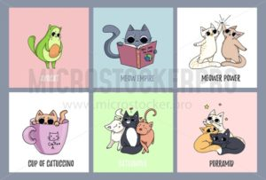 Set of cute cats cards. Avocado cat, coffee-cat. Cat reading a book. Pyramid made of cats. - Vector illustrations for everyone | Microstocker.Pro