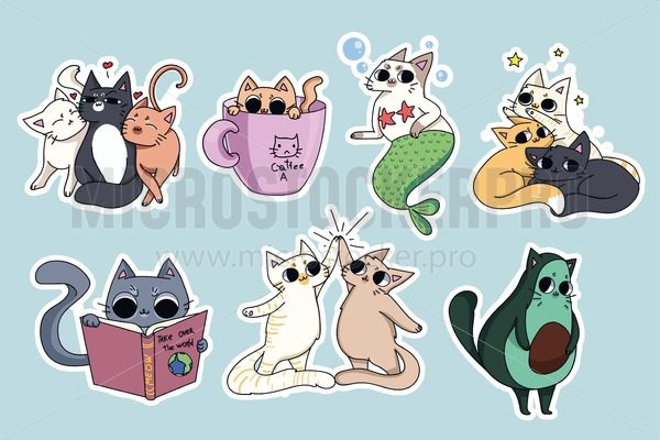 Set of cute cats stickers. Avocado cat, coffee-cat. Cat reading a book. Pyramid made of cats. - Vector illustrations for everyone   Microstocker.Pro