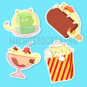 Set of cute cats with food. Kawaii vector cats. - Vector illustrations for everyone | Microstocker.Pro