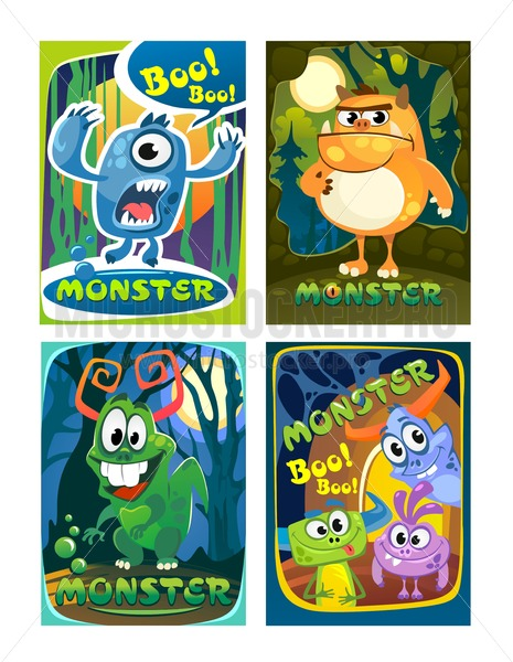 Set of cute colorful monster cards. Cartoon monsters posters for party invitation, copybooks, prints etc. - Vector illustrations for everyone | Microstocker.Pro