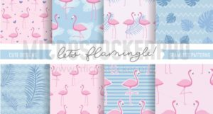 Set of cute flamingo and tropical patterns. Seamless pattern designs for textile, posters etc. Vector illustration - Vector illustrations for everyone | Microstocker.Pro