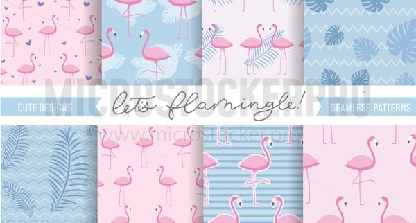Set of cute flamingo and tropical patterns. Seamless pattern designs for textile, posters etc. Vector illustration - Vector illustrations for everyone   Microstocker.Pro