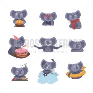 Set of cute koalas isolated on white background. Koala with a pie, Birthday koala, Koala in love etc. Vector illustration - Vector illustrations for everyone | Microstocker.Pro
