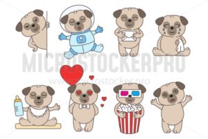 Set of cute linear pugs isolated on white backround.Pug in love, in space and with popcorn. Adorable pet dogs for cards, prints etc. Vector illustration - Vector illustrations for everyone | Microstocker.Pro