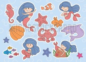 Set of cute mermaids and sea elements, Dolphin, seashell, fishes, starfish, octopus. Vector illustration. - Vector illustrations for everyone | Microstocker.Pro