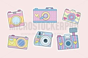 Set of cute retro cameras isolated on blush pink background. Vector illustration, - Vector illustrations for everyone | Microstocker.Pro