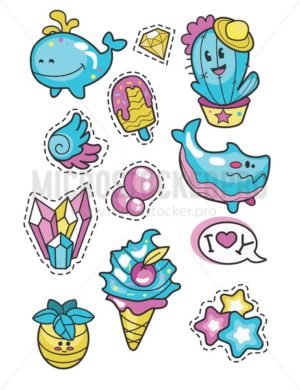 Set of cute summer labels and elements isolated on white background. Ice cream, cacti, shark, whale, pineapple, stars, crystals. Vector illustration. - Vector illustrations for everyone | Microstocker.Pro