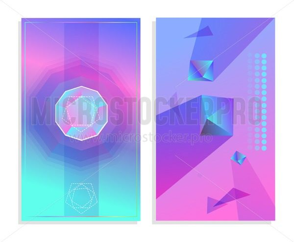 Set of futuristic abstract posters. Geometric abstract shapes backgrounds for mobile ui, web banners, posters etc. Vector illustration. - Vector illustrations for everyone | Microstocker.Pro