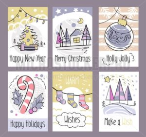 Set of hand drawn Christmas greeting cards. Happy New Year. Merry Christmas. Holly Jolly. Happy Holidays. Warm wishes. Make a wish. Cute cards with Christmas doodles.Vector illustration - Vector illustrations for everyone | Microstocker.Pro