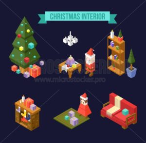 Set of isometric Christmas interior elements isolated on navy blue background. Christmas tree with gifts, Santa Claus, Book shelf, fireplace, girl with presents and sofa. Christmas isometric apartment - Vector illustrations for everyone | Microstocker.Pro
