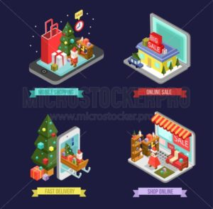 Set of isometric Christmas shopping icons. Internet shopping in smartphone with Christmas decorations. Online store in laptop with building and home interior. Isometric delivery icon. - Vector illustrations for everyone | Microstocker.Pro