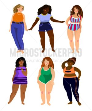 Set of multiracial plus size women models with different types of size and clothes. Beatiful women isolated on white background. Body positive vector illustration. - Vector illustrations for everyone | Microstocker.Pro