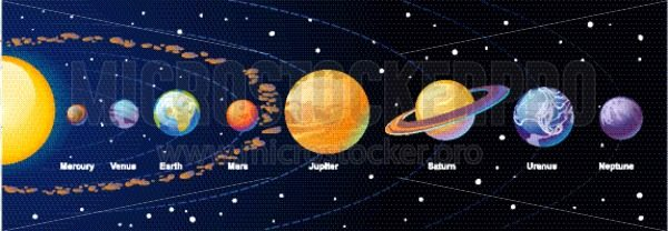 Solar system cartoon illustration with colorful planets and asteroid belt on navy blue gradient background. Vector illustration. - Vector illustrations for everyone | Microstocker.Pro