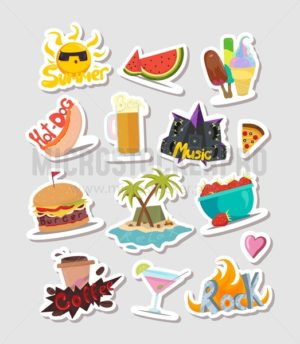 Summer cartoon colorful stickers and labels set. Cute summer elements for badges, patches, stickers etc. Set of vector elements: ice-cream, watermelon, Palm,sea, beach, fire,rock,musig,hot dog, burger, cocktail, beer,sun, coffee, pizza, strawberrry. - Vector illustrations for everyone   Microstocker.Pro