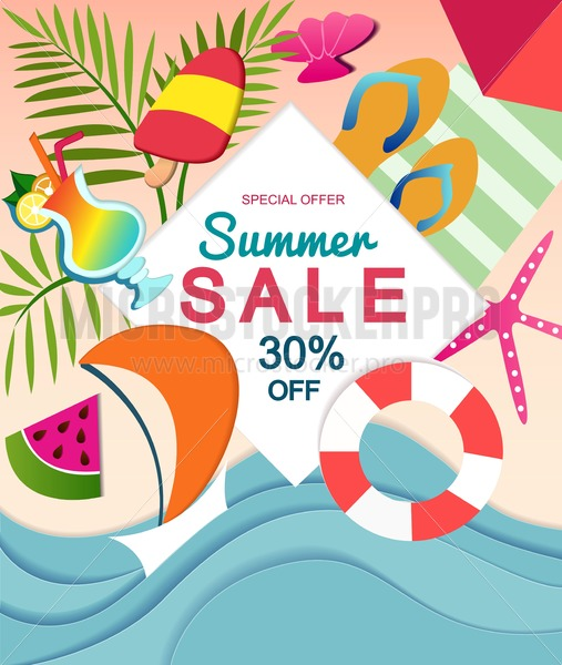 Summer sale design teplate with paper effect and summer elements. Vector illustration. - Vector illustrations for everyone   Microstocker.Pro