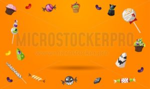 Sweet Halloween orange background with flying candies and empty place for text. Design template for sale banner, tag, gift card, poster etc. Vector illustration - Vector illustrations for everyone | Microstocker.Pro