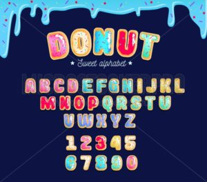 Sweet donut type font with different glaze. Colorful donut alphabet card for party, poster or flyer. - Vector illustrations for everyone | Microstocker.Pro