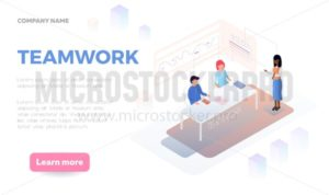 Teamwork web-banner design concept with people discussing plans. Isometric design for banners, posters etc.Vector illustration. - Vector illustrations for everyone | Microstocker.Pro