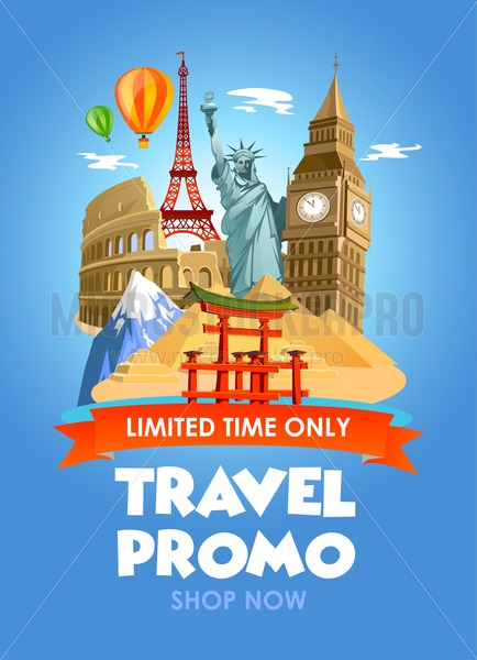 Travel agency promo banner with discounts for tours. Vector illustration. - Vector illustrations for everyone | Microstocker.Pro