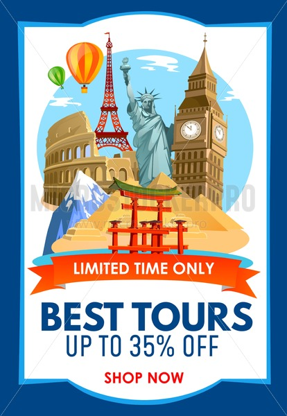 Travel agency promo banner with discounts for tours. Vector illustration. - Vector illustrations for everyone   Microstocker.Pro