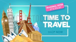 Travel promo banner design for travel agency. Vector illustration - Vector illustrations for everyone | Microstocker.Pro