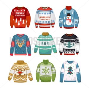Ugly sweaters set. Christmas sweaters isolated on white background. Vector illustration - Vector illustrations for everyone | Microstocker.Pro