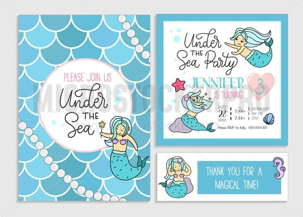 Under the sea party invitation for little girl mermaid. Set of greeting cards and invitations with hand drawn cute mermaids, lettering and doodles. - Vector illustrations for everyone | Microstocker.Pro