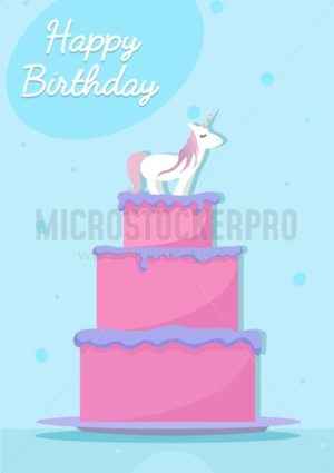 Unicorn Birthday card with cartoon cake and blue background. - Vector illustrations for everyone | Microstocker.Pro