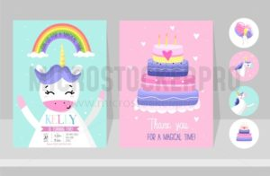 Unicorn cards set for Birthday party. Birthday invitation design for unicorn party. Cute hand drawn cards with unicorns. - Vector illustrations for everyone | Microstocker.Pro