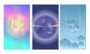 Vector abstract posters set. Futuristic design template. Geometric shapes design for mobile ui, web banners, posters etc. - Vector illustrations for everyone | Microstocker.Pro