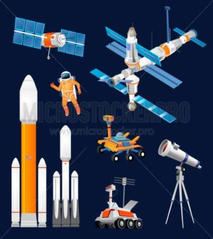 Vector cartoon space exploration set. Space rockets, astronomical telescopes, satellite dish, astronaut, rover, moon-rover, international Space Station. Scientific equipment in space exploration. - Vector illustrations for everyone | Microstocker.Pro