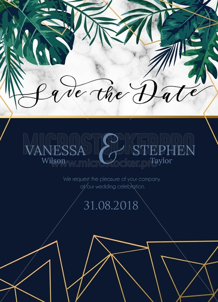 Vector invitation card with tropical leaves. Minimalistic design with marble, rose gold geometric lines and navy blue colours. Vector illustration. - Vector illustrations for everyone | Microstocker.Pro