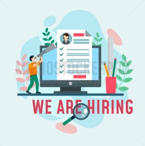 We are hiring design template with laptop, cv and geometric shapes. Vector illustration. - Vector illustrations for everyone | Microstocker.Pro