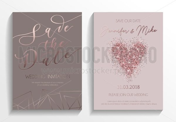 Wedding invitation card set. Modern design template with rose gold glitter heart and lettering. Elegance wedding invitation with geometric elements. Vector illustration. - Vector illustrations for everyone | Microstocker.Pro