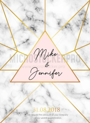 Wedding invitation design for wedding, engagement, anniversary etc. Elegant marble background with golden geometric design. Vector illustration. - Vector illustrations for everyone | Microstocker.Pro