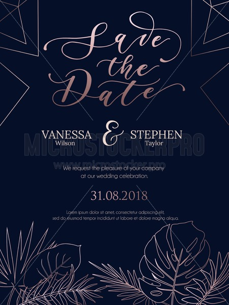 Wedding invitation summer design with geometric lines and rose gold tropical leaves silhouette. Elegant template for engagement with gold lettering and white background. Vector illustration. - Vector illustrations for everyone | Microstocker.Pro
