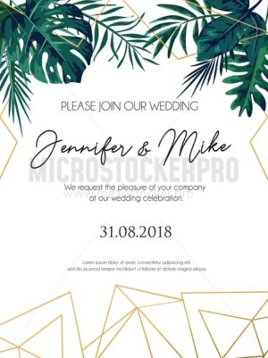 Wedding invitation tropical design with golden geometric lines and tropical leaves. Elegant floral template for engagement with lettering and white background. Vector illustration. - Vector illustrations for everyone | Microstocker.Pro