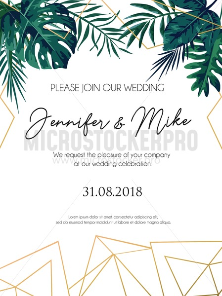 Wedding invitation tropical design with golden geometric ...
