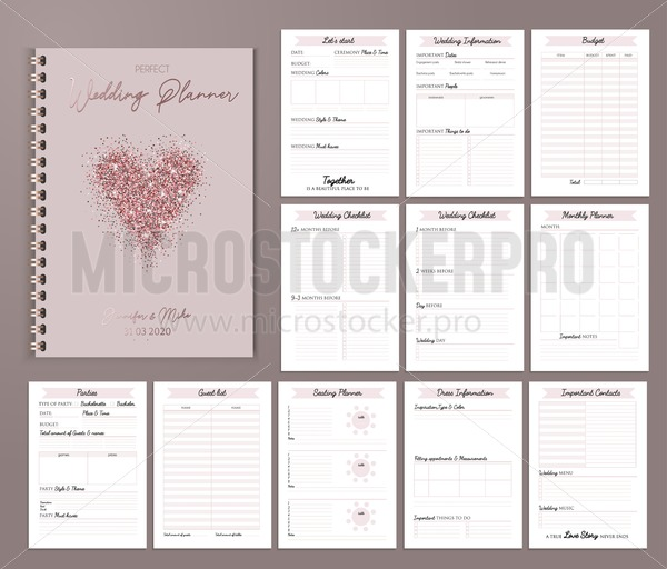 photo about Printable Design identified as Wedding ceremony planner printable design and style with checklists, substantial day, notes and many others. Vector case in point