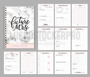 Wedding planner printable design with checklists, important date, notes etc. Vector illustration - Vector illustrations for everyone | Microstocker.Pro