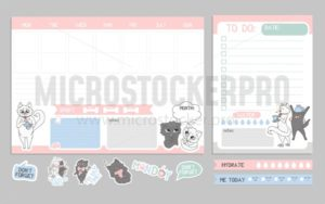 Weekly planner cute design with cats. Vector illustration - Vector illustrations for everyone | Microstocker.Pro
