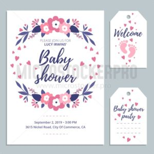 Welcome Baby cute card invitation with lettering and baby footprints. Baby shower card design. Vector illustration - Vector illustrations for everyone | Microstocker.Pro